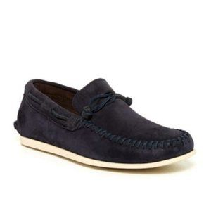 John Varvatos Blue Leather Suede Boat Loafer